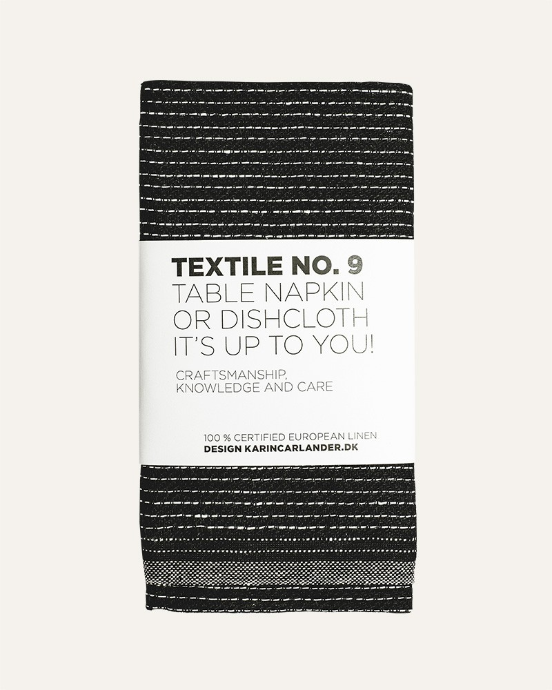 TEXTILE NO. 9 ZIGZAG BLACK LINEN TABLE NAPKIN DISHCLOTH