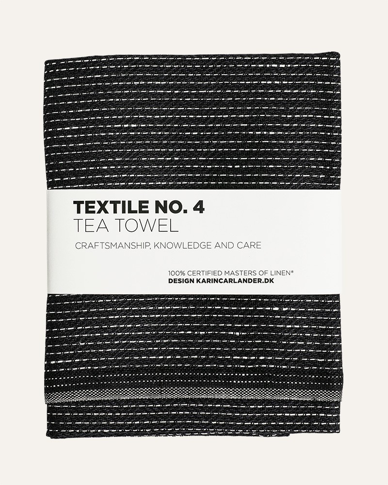 TEXTILE NO. 4 ZIGZAG BLACK LINEN TEA TOWEL