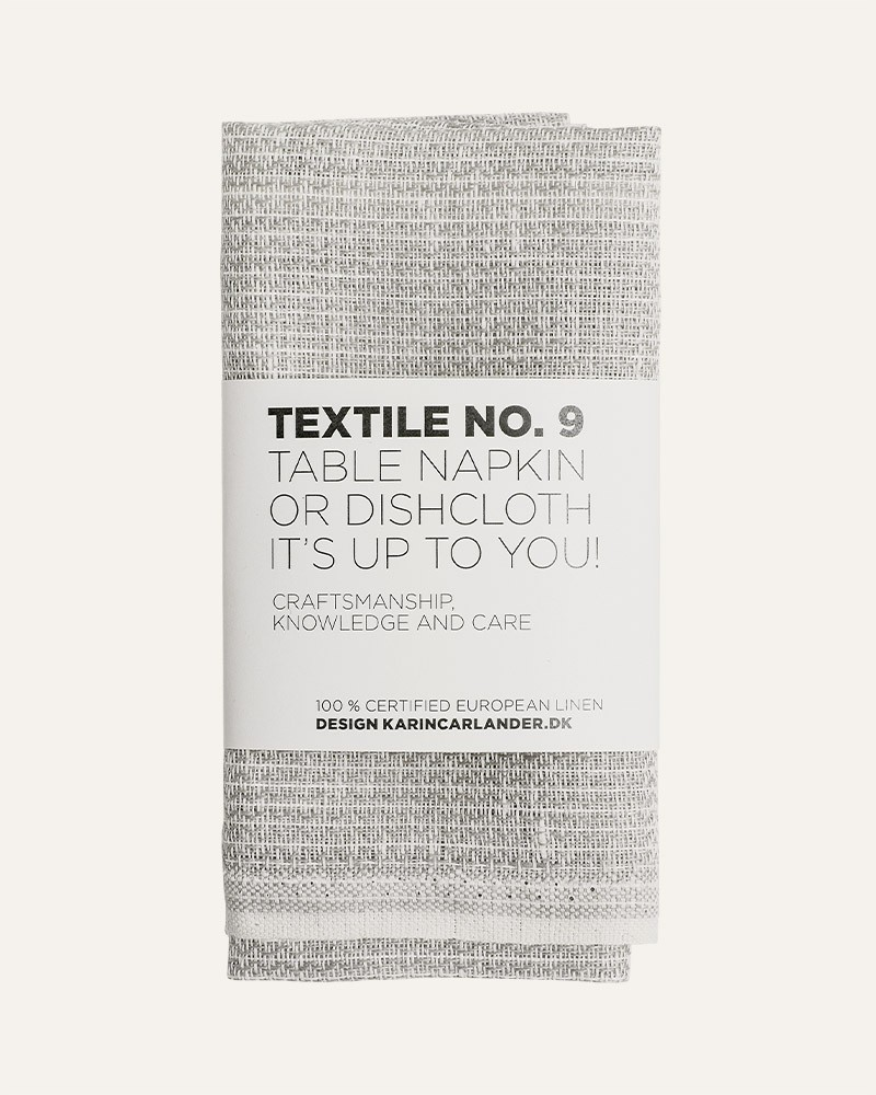 TEXTILE NO.9 SASHIKO SMALL GREY LINEN TABLE NAPKIN DISHCLOTH