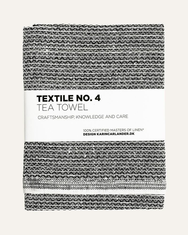 TEXTILE NO.4 SASHIKO BLACK LINEN TEA TOWEL