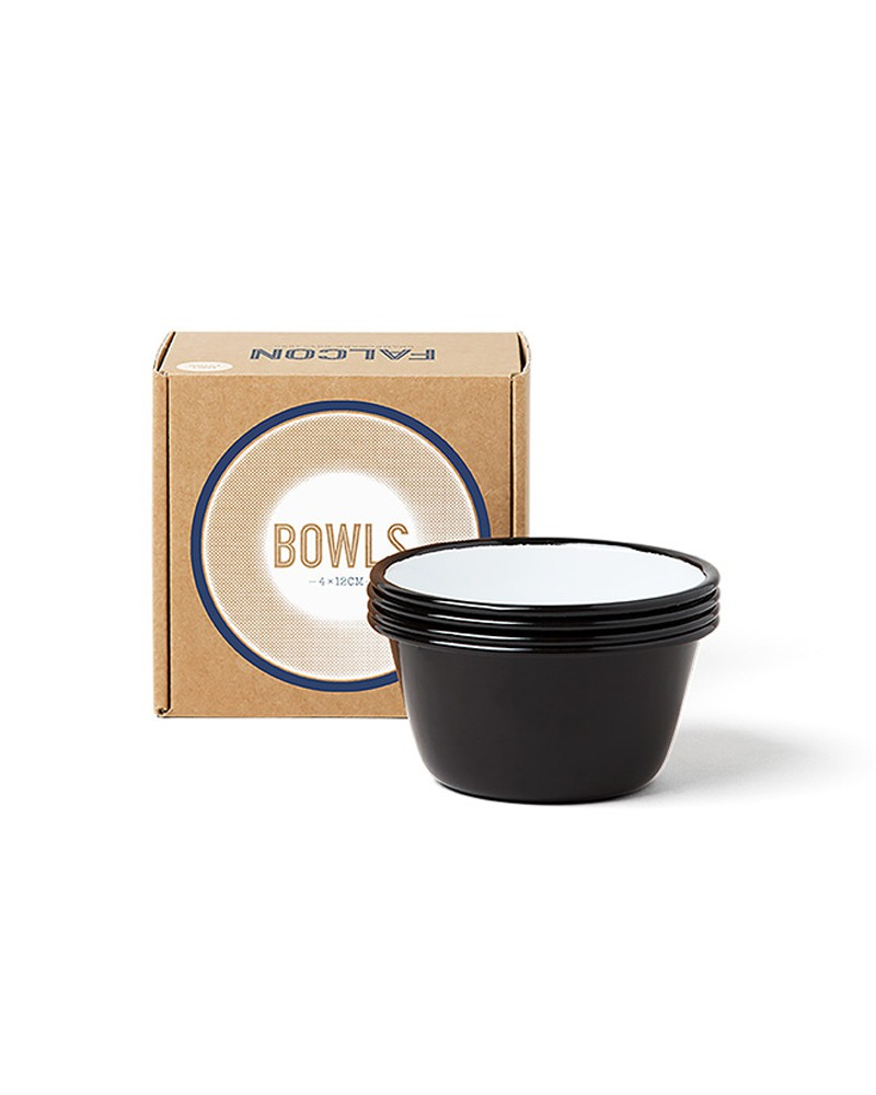 BOX OF 4 SMALL BOWLS COAL BLACK
