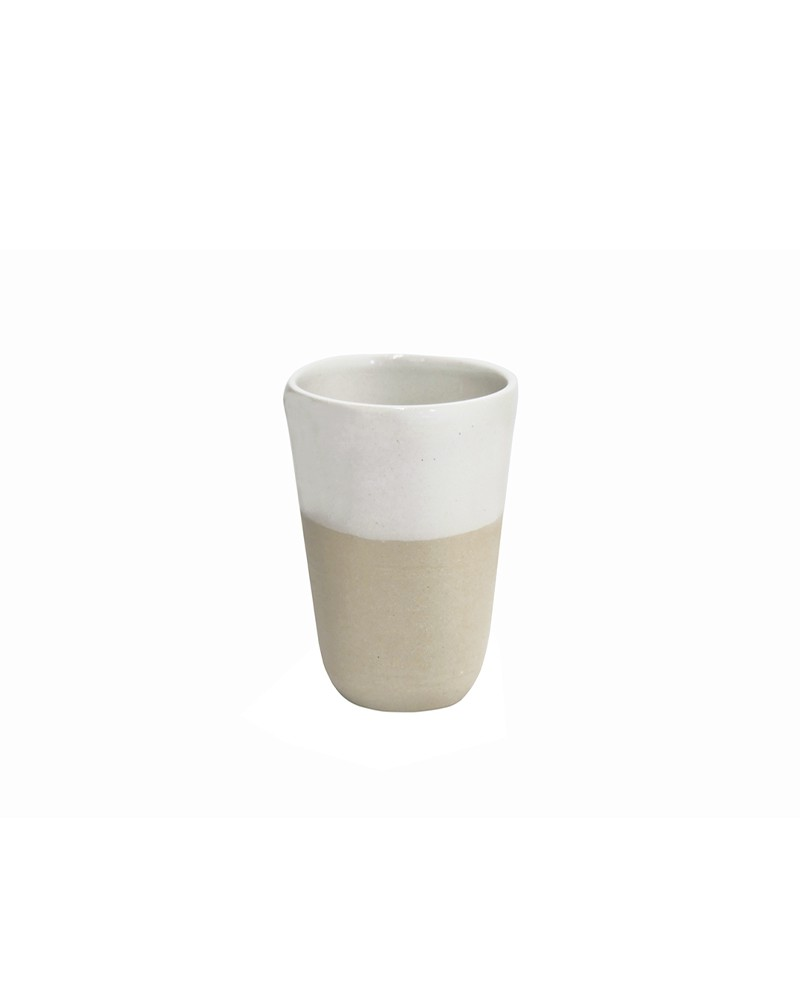SMALL WHITE STONEWARE CUP