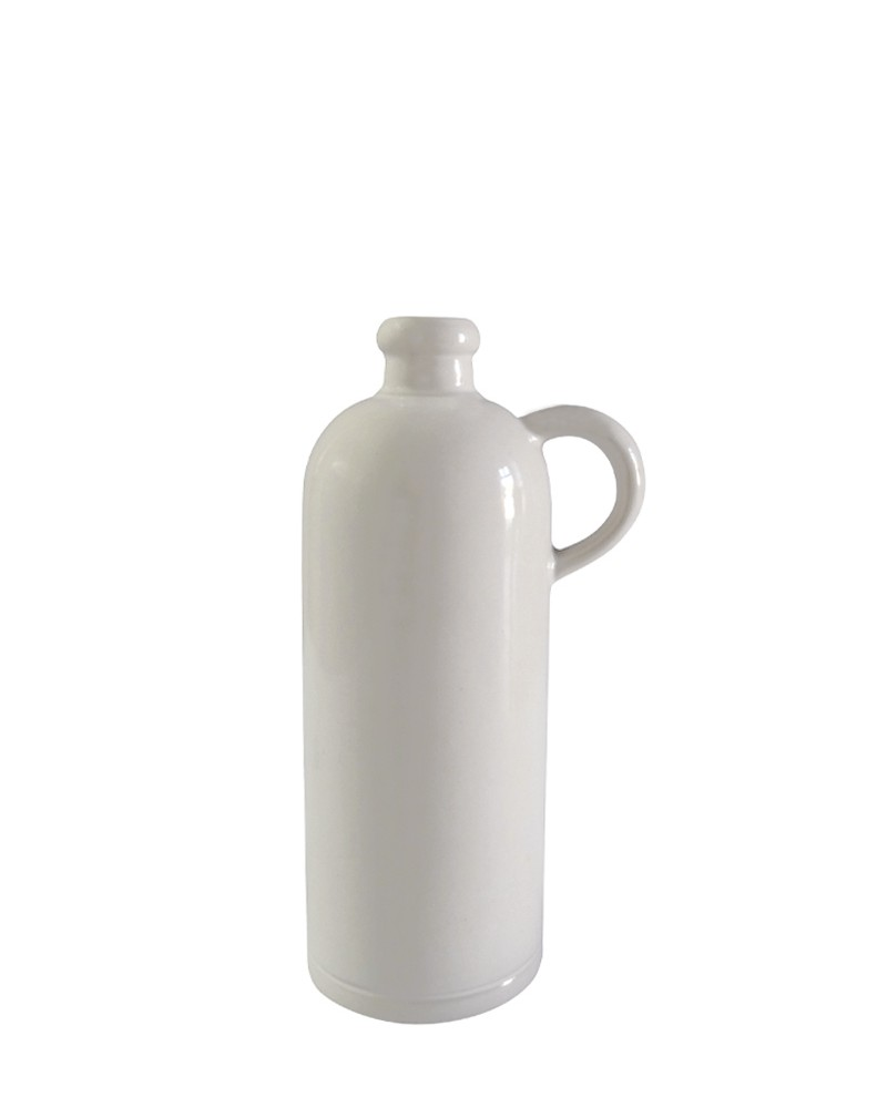 SMALL WHITE STONEWARE BOTTLE WITH HANDLE