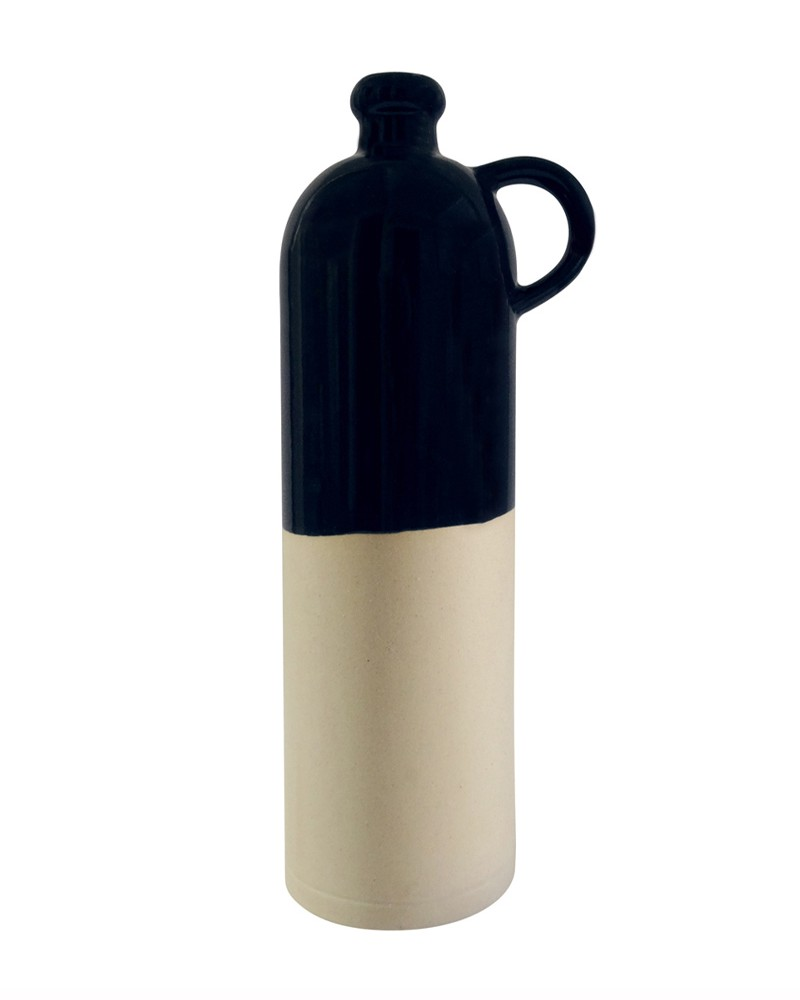 BIG DARK BLUE STONEWARE BOTTLE WITH HANDLE