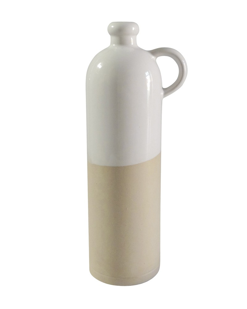 BIG WHITE STONEWARE BOTTLE WITH HANDLE