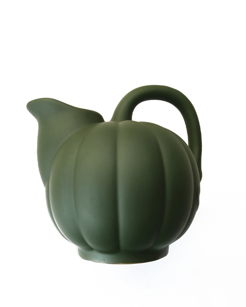STONEWARE MELON PITCHER MATTE MOSS GREEN