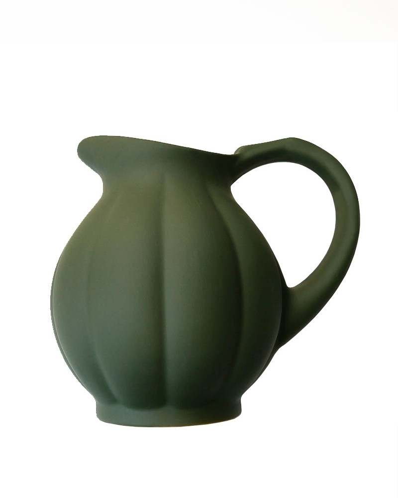 STONEWARE PUMPKIN PITCHER MATTE MOSS GREEN